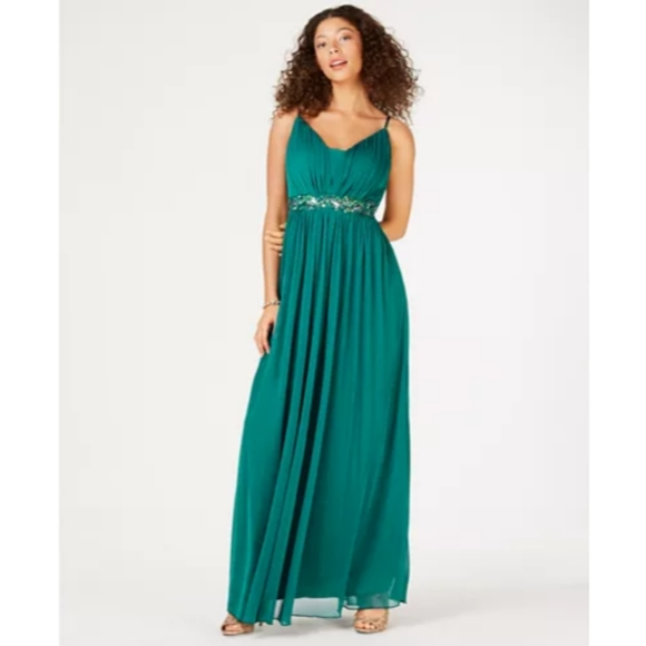 NWT Teeze Me Juniors' Beaded Grecian Gown, Emerald